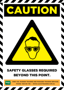 Caution: Safety Glasses required beyond this point