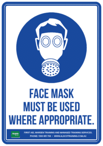 Mandatory Sign: Face Mask Must Be Used Where Appropriate