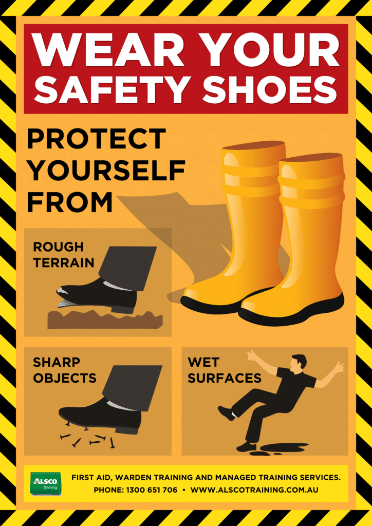 Alsco Training Safety Posters Wear Safety Shoes A4 Alsco