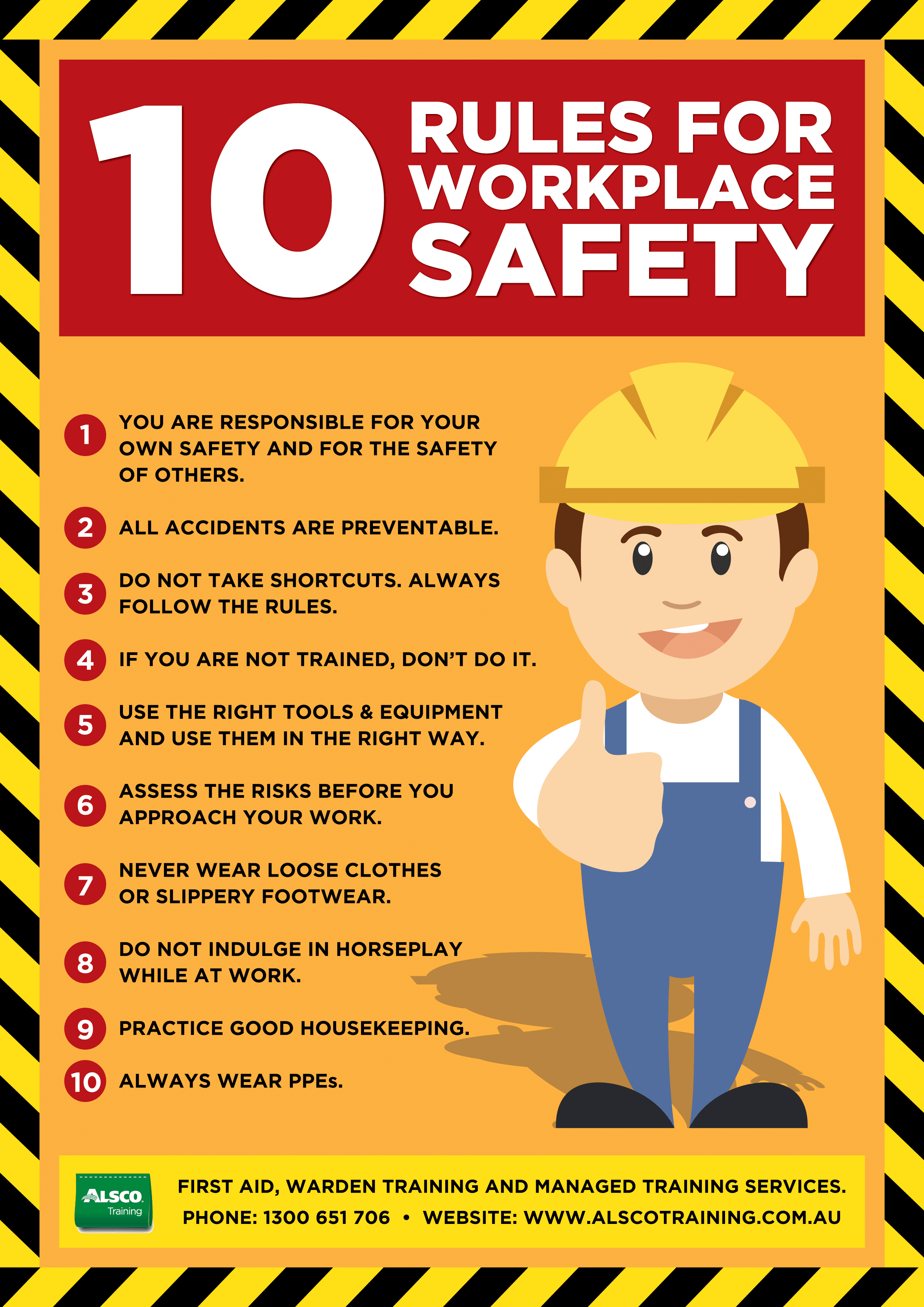 alsco training safety posters workplace safety rules a4 alsco training