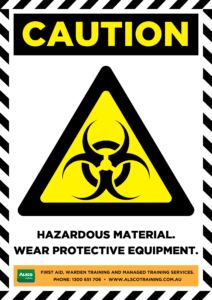 Caution: Hazardous Material. Wear PPE