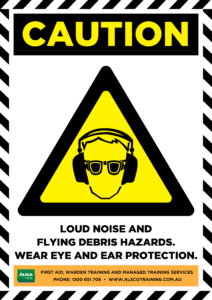 Caution: Loud noise and flying debris hazards