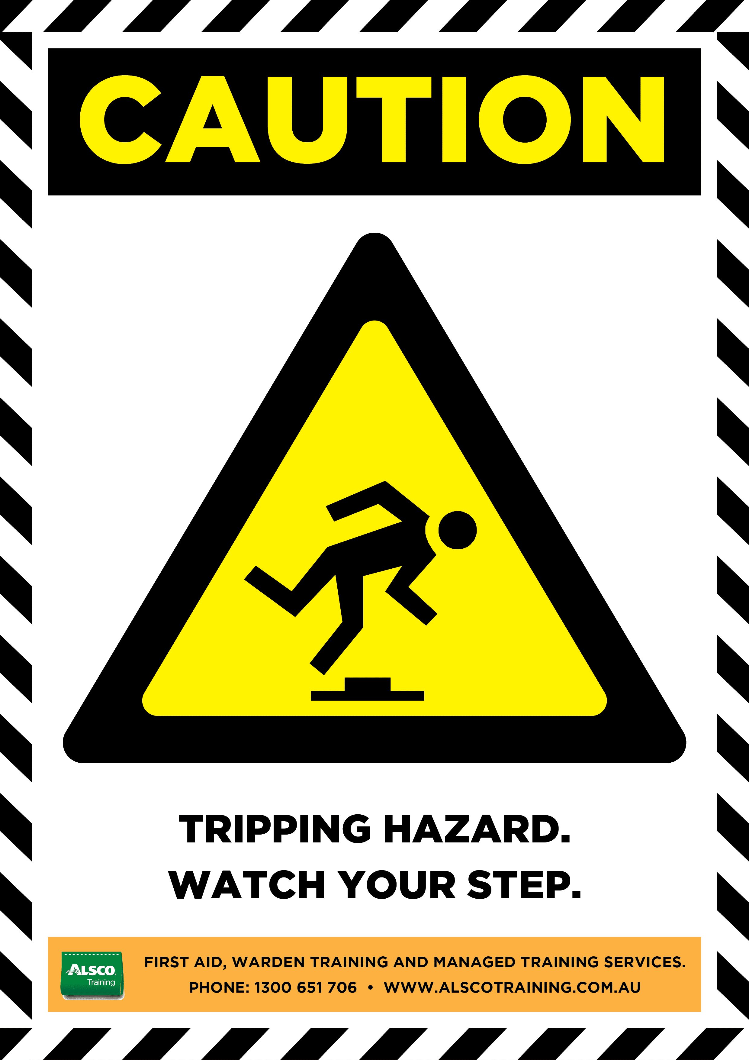 picture relating to Printable Watch Your Step Sign called Warning Signal Posters Downloadable and Printable Alsco